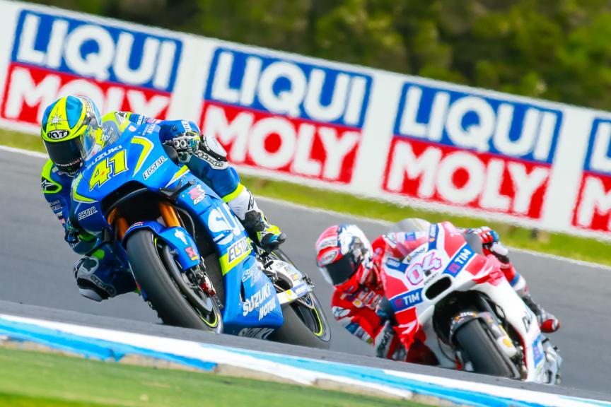 Aleix Espargaro, Team SUZUKI ECSTAR and Andrea Dovizioso, Ducati Team, Michelin® Australian Motorcycle Grand Prix