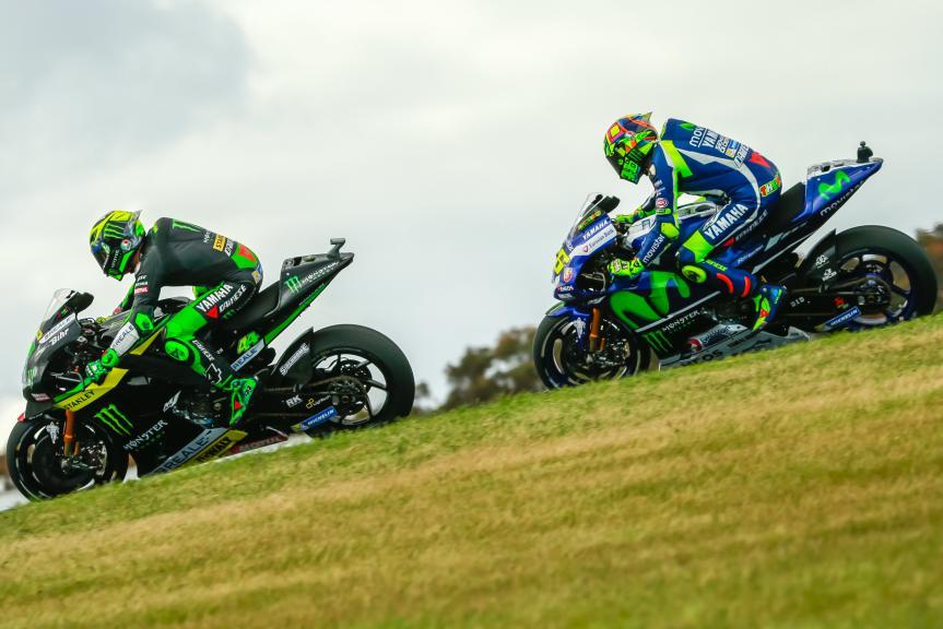 Pol Espargaro, Monster Yamaha Tech 3 and Valentino Rossi, Movistar Yamaha MotoGP, Michelin® Australian Motorcycle Grand Prix