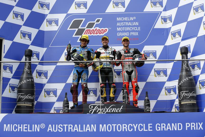 Thomas Luthi, Franco Morbidelli, Sandro Cortese, Michelin® Australian Motorcycle Grand Prix