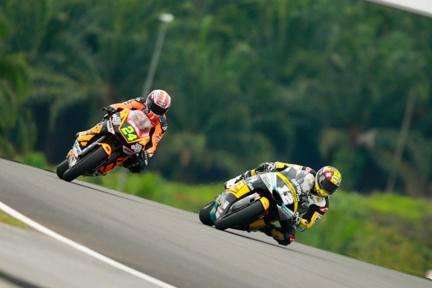 Thomas Luthi, Garage Plus Interwetten and Simone Corsi, Speed Up Racing, Shell Malaysia Motorcycle Grand Prix