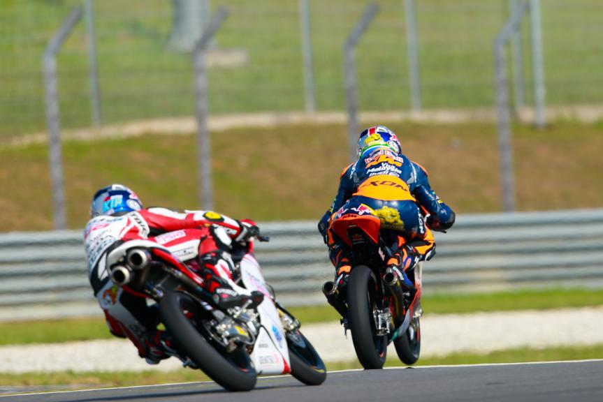 Brad Binder, Red Bull KTM Ajo and Khairul Idham Pawi, Honda Team Asia, Shell Malaysia Motorcycle Grand Prix