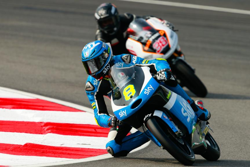 Nicolo Bulega, SKY Racing Team VR46 and Jhafiq Azmi, Peugeot MC Saxoprint, Shell Malaysia Motorcycle Grand Prix