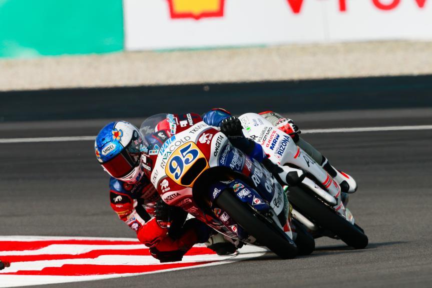 Jules Danilo, Ongetta-Rivacold and Francesco Bagnaia, ASPAR Mahindra Team Moto3, Shell Malaysia Motorcycle Grand Prix