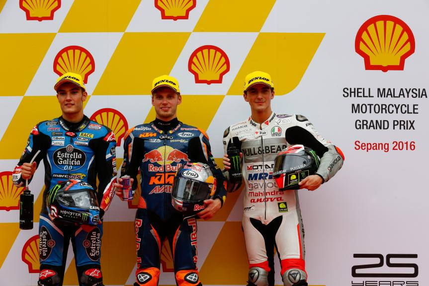 Brad Binder, Francesco Bagnaia and Jorge Navarro, Estrella Galicia 0,0, Shell Malaysia Motorcycle Grand Prix