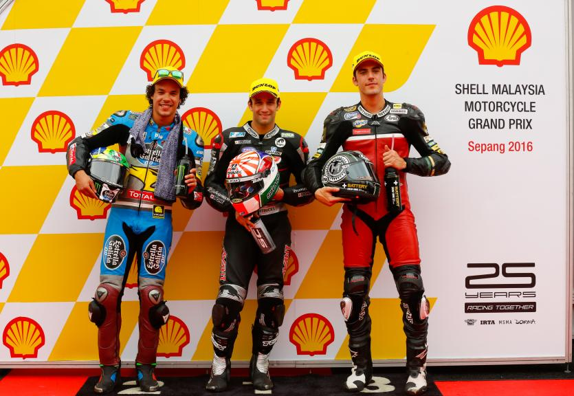 Johann Zarco, Franco Morbidelli and Axel Pons, Shell Malaysia Motorcycle Grand Prix