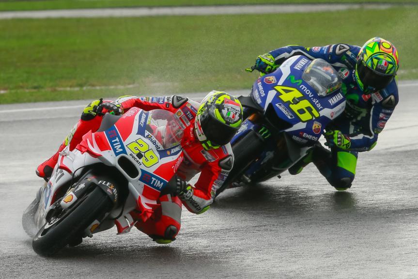 Andrea Iannone, Ducati Team and Valentino Rossi, Movistar Yamaha MotoGrand Prix, Shell Malaysia Motorcycle Grand Prix