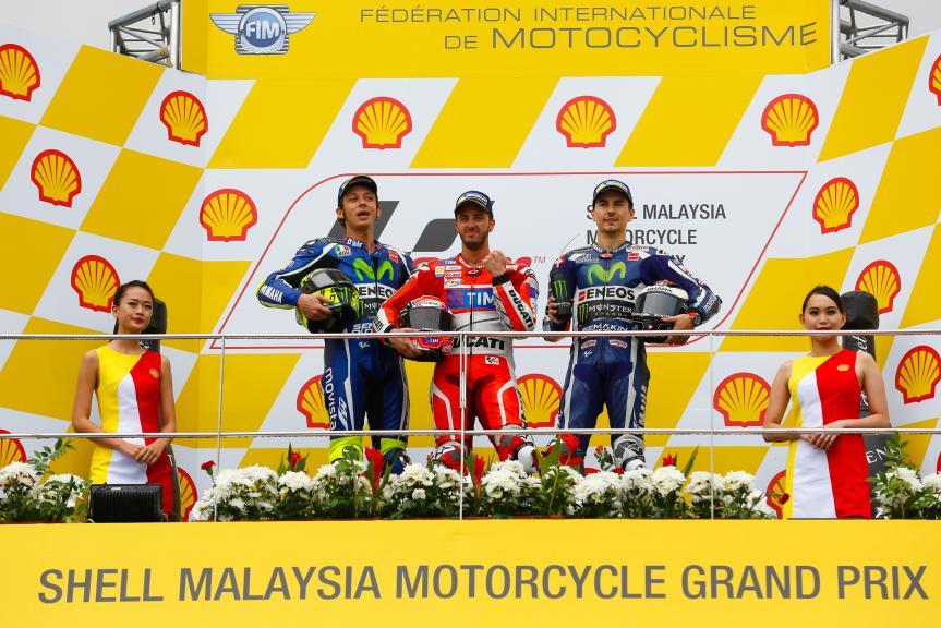 Andrea Dovizioso, Valentino Rossi and Jorge Lorenzo,Shell Malaysia Motorcycle Grand Prix