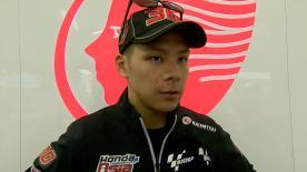Il pilota giapponese è terzo nelle prime sessioni di libere dopo un incidente.