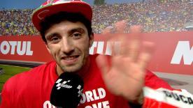 Il pilota di Vasto vince il duello con Valentino Rossi e sale sul podio valenzano, è la sua ultima gara con il Team.