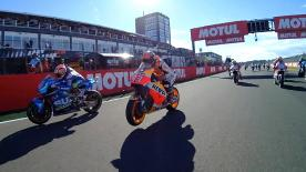 Enjoy the MotoGP™ race start from the point of view of the top riders