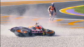 A detailed look at the cause and effect of the noteworthy crashes of the #ValenciaGP.