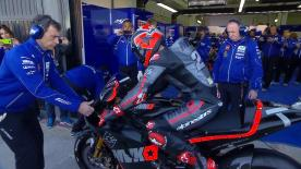 Maverick Viñales was in fine form for his new Yamaha team during the first morning of official testing in Valencia.