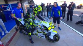 Andrea Iannone didn't take long to impress his new employers Suzuki in testing at Valencia on Tuesday morning.