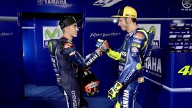 New teammates shake hands ahead of sharing Movistar Yamaha colours for the first time