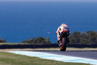 Pedrosa concentrating on the front on Day 1