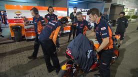 Marc Marquez debuted a new aero-fairing on the 1st day of test in Qatar but his first outing was cut short by a minor crash