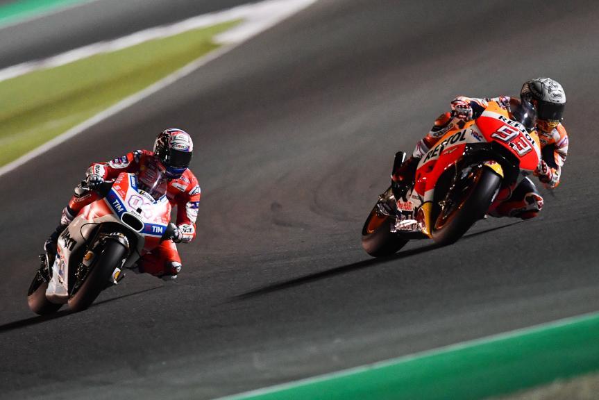 Marc Marquez, Repsol Honda Team, Andrea Dovizioso, Ducati Team, Grand Prix of Qatar