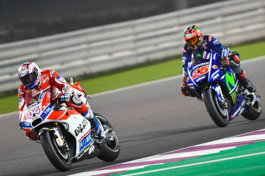 Andrea Dovizioso, Ducati Team, Maverick Vinales, Movistar Yamaha Motogp, Grand Prix of Qatar