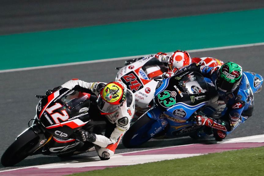 Marco Bezzecchi, Enea bastianini, Tatsuki Suzuki, Grand Prix of Qatar