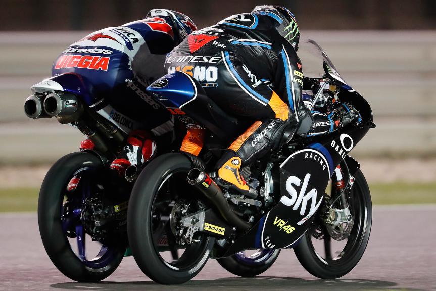 Andrea Migno, Sky Racing Team Vr46, Fabio Di Giannantonio, Del Conca Gresini Moto3, Grand Prix of Qatar