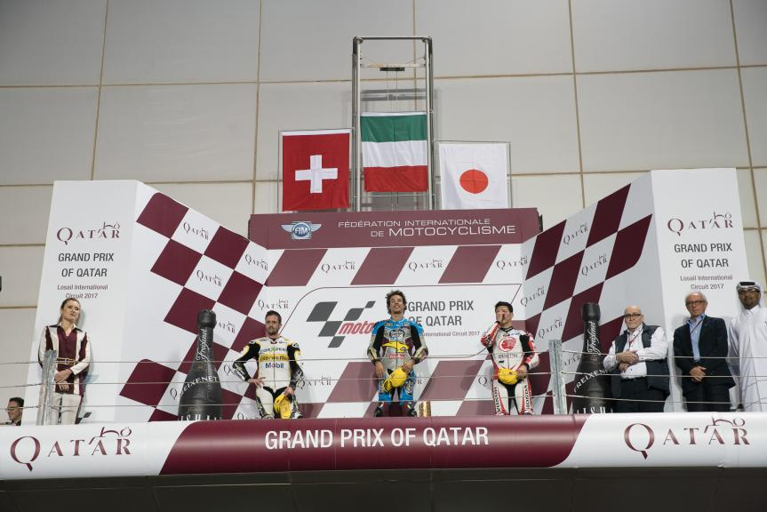 Franco Morbidelli, Thomas Luthi, Takaaki Nakagami, Grand Prix of Qatar