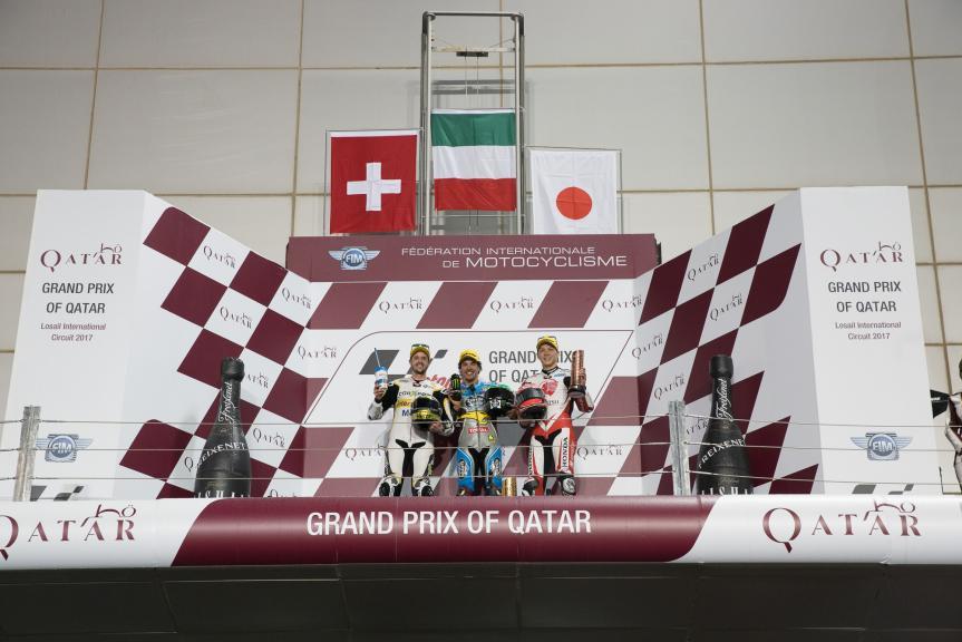 Franco Morbidelli, Thomas Luthi, Takaaki Nakagami, Grand Prix of Qatar