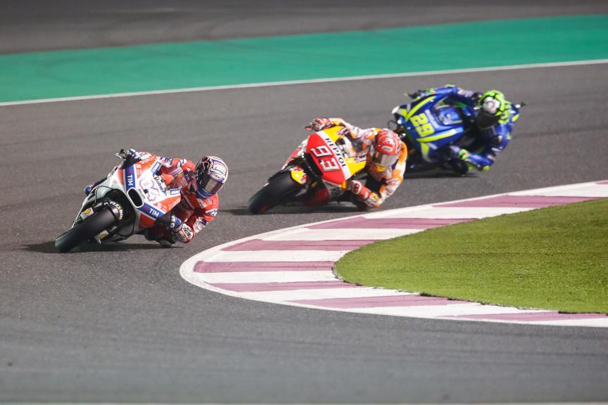 Andrea Dovizioso, Marc Marquez, Andrea Iannone, Grand Prix of Qatar