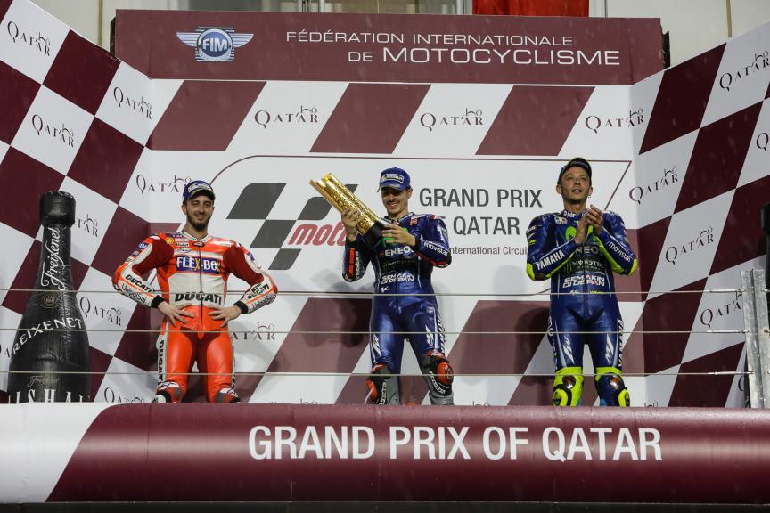 Maverick Vinales, Andrea Dovizioso, Valentino Rossi, Grand Prix of Qatar