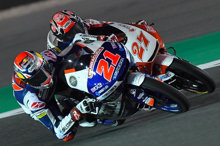 Fabio Di Giannantonio, Del Conca Gresini Moto3, Kaito Toba, Honda Team Asia, Grand Prix of Qatar
