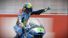 The Italian rider won in a last lap duel as his teammate crashed out, finishing ahead of Oliveira and Luthi