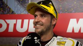 Swiss rider didn't expect to be on the podium before last lap incident ahead