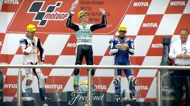 The Spanish Moto3™ rider recovered from 16th position on the grid to take victory ahead of John McPhee and Jorge Martin