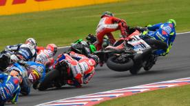 A detailed look at the cause and effect of the noteworthy crashes of the #ArgentinaGP.