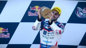 The Italian rider took victory ahead of the two Del Conca Gresini Honda's Jorge Martin and Fabio Di Giannantonio
