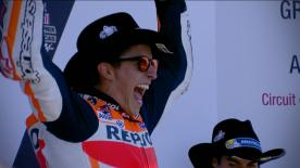The Repsol Honda rider led a close battle at the front with Valentino Rossi and Dani Pedrosa rounding out the podium
