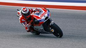 After crashing out of the last race in Argentina, Jorge Lorenzo made positive steps forward in Austin with his Ducati