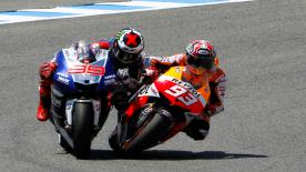 Dani Pedrosa has clinched his maiden victory of this year's MotoGP™ World Championship, winning the Gran Premio bwin de España on Sunday. It was another one-two finish for Repsol Honda Team after Marc Marquez dived past Yamaha Factory Racing's Jorge Lorenzo for second place at the final corner.