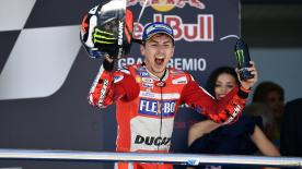 Jorge Lorenzo takes his first podium of the season and his first with Ducati Team