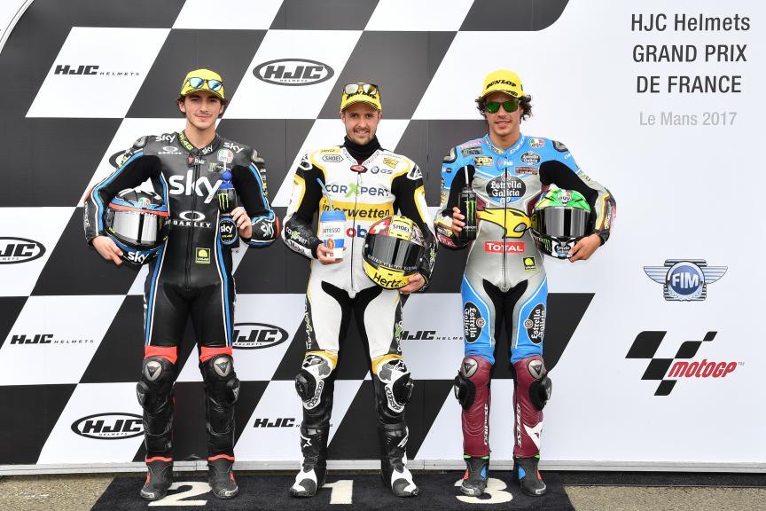 Thomas Luthi, Francesco Bagnaia, Franco Morbidelli, HJC Helmets Grand Prix de France