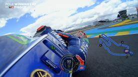 Relive Viñales's pole-winning lap's pole setting lap at the Le Mans Bugatti Circuit, complete with telemetry data.