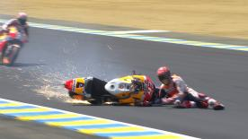 Marquez looked set to challenge for a podium finish when he crashed out in turn 2