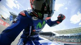 Maverick Viñales managed to take victory ahead of Johann Zarco and Dani Pedrosa while Valentino Rossi crashed on the final lap