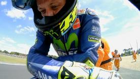 Rossi was able to challenge his team-mate Viñales for the win until the very last lap, but a crash ruined his best race of the season so far