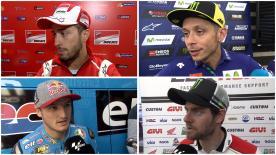 優勝を挙げたマーベリック・ビニャーレスをはじめ、ヨハン・ザルコ、ダニ・ペドロサ、アンドレア・ドビツィオーソ、カル・クラッチロー、ホルヘ・ロレンソ、ジョナス・フォルガー、ジャック・ミラー、マルク・マルケス、バレンティーノ・ロッシが決勝レースを振り返る。