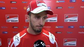 The Italian rider was pleased with the first day overall but feels he is losing time in the middle of the corners on the GP17