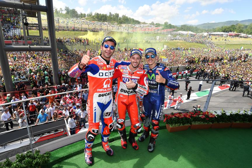 Andrea Dovizioso, Maverick Vinales, Danilo Petrucci, Gran Premio d'Italia Oakley