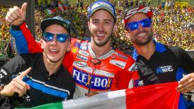 Three incredible races and three Italian winners. Dovi conquers Mugello to become the first Italian to win there in MotoGP™ since 2008