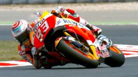 Repsol Honda Team's Marc Marquez led the way at the end of the first day, ahead of Jorge Lorenzo and Jonas Folger