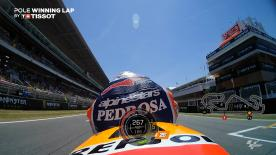 Relive Pedrosa' pole-winning lap's pole setting lap at the Circuit de Barcelona-Catalunya, complete with telemetry data.