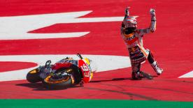 The Repsol Honda rider crashed four times on Saturday, and here he explains how and why they occurred